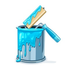 Can bucket with blue paint vector image