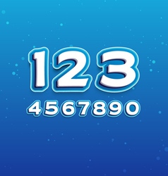 3d font in cartoon style with numbers vector