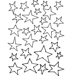 Liquid line irregular stars hand drawn over white vector