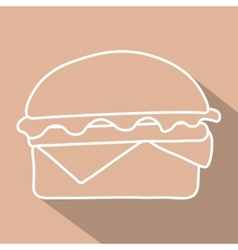 Hamburger icon symbol with long shadow vector