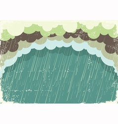 Of raining clouds on old paper texturevintage back vector
