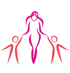 Mother and twins walking symbol in simple lines vector