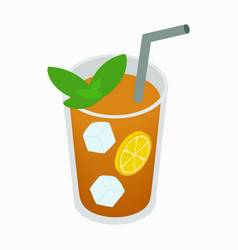 Glass of tea with ice and lemon icon vector