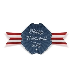 Happy memorial day greeting emblem with text vector