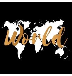 Gold world map on black background doodle vector