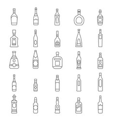 alcohol bottles line icons vector image