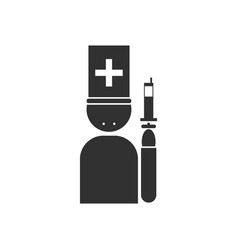Black icon on white background doctor with syringe vector