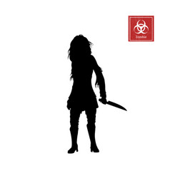 black silhouette of women zombie with knife vector image