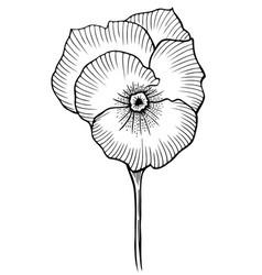 Black vintage flower vector