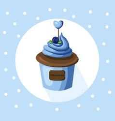Blueberry cupcake muffin vector