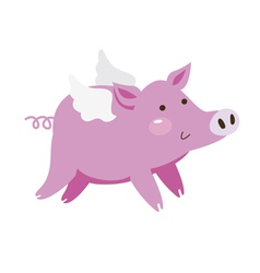 Cartoon flying pig vector