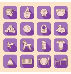 Child and baby care center flat icons with shadow vector