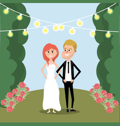 Couple married with flowers and lights vector