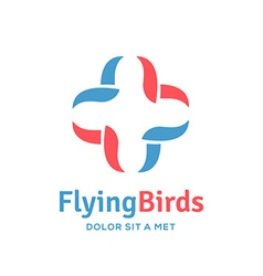 Cross plus bird medical logo icon design template vector image