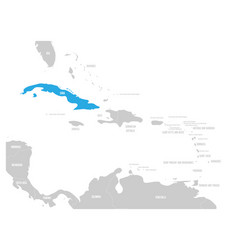 Cuba blue marked in the map of caribbean vector