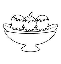 Delicious banana split icon vector