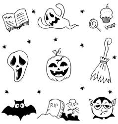 Element ghost halloween in doodle vector