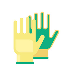Gardening flat yellow gloves for work isolated on vector