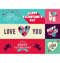 Happy Valentines Day web banner set vector image vector image