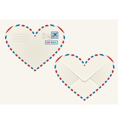 Heart shaped heart airmail envelope vector image vector image