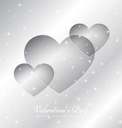 Hearts in silver background vector