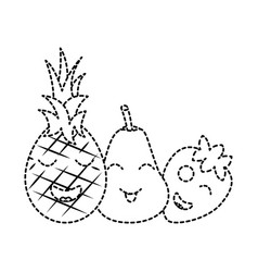 kawaii fruits cartoon pineapple pear and vector image