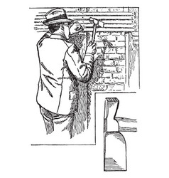 Lather hatchet vintage vector