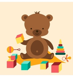 Little cute baby bear playing with toys vector image vector image