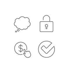 Locker check and comic speech bubble line icons vector