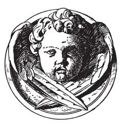 Modern cherub head is a design on a medallion vector