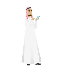 Muslim businessman holding a mobile phone vector