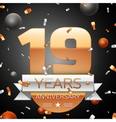 Nineteen years anniversary celebration background vector