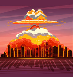 Nuclear explosion atom bomb falling on big city vector