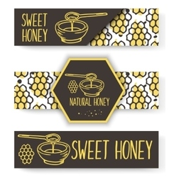 Organic honey banners bio hand drawn set vector