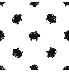 Piggy bank pattern seamless black vector