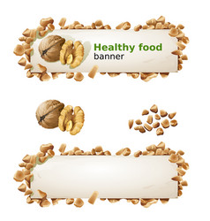 Set banners with walnuts and ground nuts vector