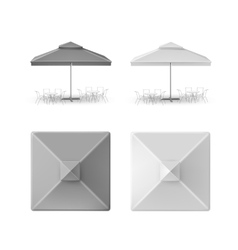 Set of Gray Restaurant Parasol Top Side Front View vector image vector image