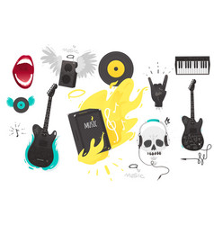 Set of rock music heavy metal icons sign symbols vector