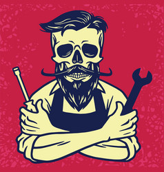 skull biker mechanic design vector image