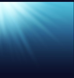 Sun rays beams shining true the blue water vector