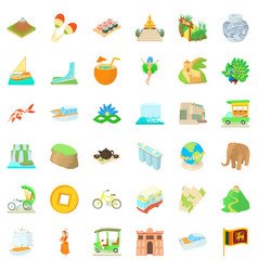 Tourist icons set cartoon style vector