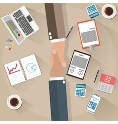 Two businessman shake hands top view vector