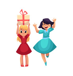 Two girls having fun at birthday party dancing vector