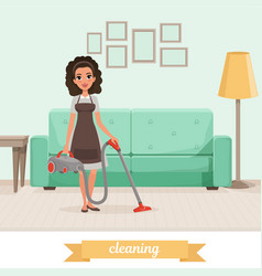 young girl cleaning floor with vacuum cleaner at vector image vector image