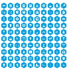 100 school years icons set blue vector image