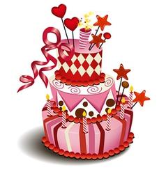 Big pink cake vector