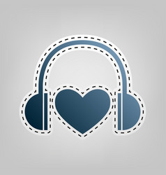 headphones with heart  blue icon with vector image
