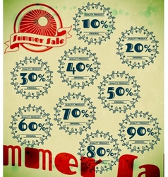 Set of summer sale retro labels with floral vector image