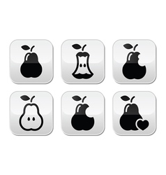 Pear pear core bitten half buttons vector