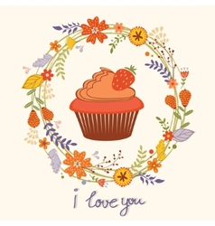 Card with cupcake and wreath vector